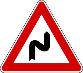Traffic sign of Turkey: Warning for a <b>double curve</b>, first right then left