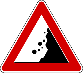 Traffic sign of Turkey: Warning for <a href='/en/turkey/overview/rockfall'>falling rocks</a>