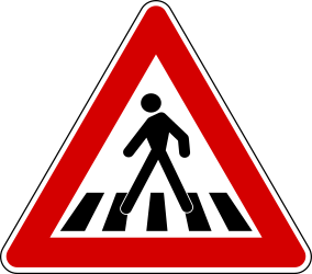 Traffic sign of Turkey: Warning for a <a href='/en/turkey/overview/crossing'>crossing</a> for <a href='/en/turkey/overview/pedestrian'>pedestrians</a>