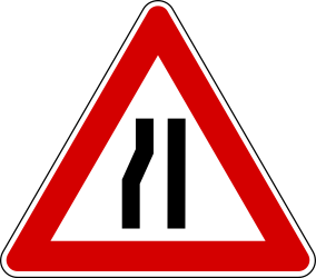 Traffic sign of Turkey: Warning for a road <b>narrowing</b> on the left