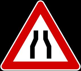 Traffic sign of Turkey: Warning for a road <b>narrowing</b>