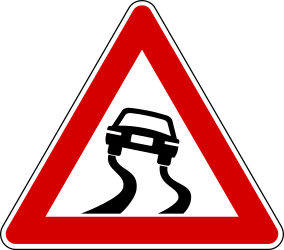 Traffic sign of Turkey: Warning for a <a href='/en/turkey/overview/slippery-road'>slippery road</a> surface
