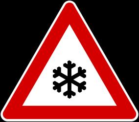Traffic sign of Turkey: Warning for <a href='/en/turkey/overview/snow'>snow</a> and <a href='/en/turkey/overview/freezing-rain'>sleet</a>