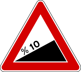 Traffic sign of Turkey: Warning for a <a href='/en/turkey/overview/slope'>steep ascent</a>