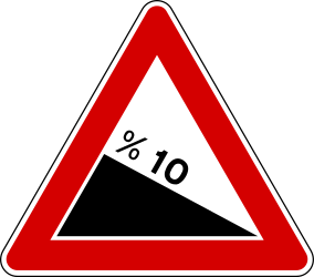 Traffic sign of Turkey: Warning for a <a href='/en/turkey/overview/slope'>steep descent</a>