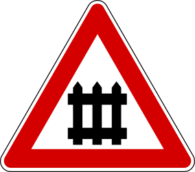 Traffic sign of Turkey: Warning for a <a href='/en/turkey/overview/railroad-crossing'>railroad crossing</a> <b>with</b> <a href='/en/turkey/overview/barriers'>barriers</a>