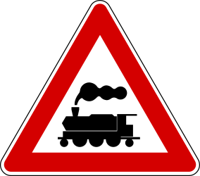 Traffic sign of Turkey: Warning for a <a href='/en/turkey/overview/railroad-crossing'>railroad crossing</a> <b>without</b> <a href='/en/turkey/overview/barrier'>barriers</a>