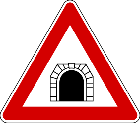 Traffic sign of Turkey: Warning for a <a href='/en/turkey/overview/tunnel'>tunnel</a>