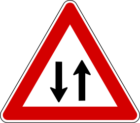 Traffic sign of Turkey: Warning for a road with <b>two-way traffic</b>