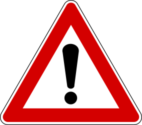Traffic sign of Turkey: Warning for a <b>danger</b> with no specific traffic sign