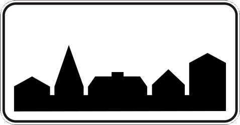 Traffic sign of Ukraine: Begin of a built-up area