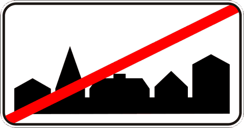 Traffic sign of Ukraine: End of the built-up area