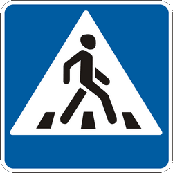 Traffic sign of Ukraine: Crossing for pedestrians