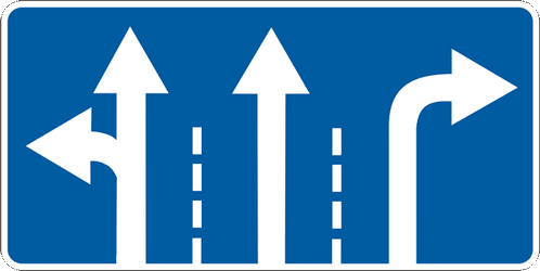 Traffic sign of Ukraine: Overview of the lanes and their direction