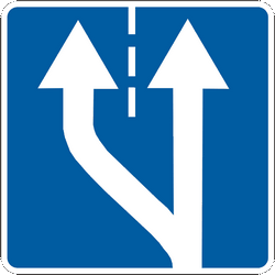 Traffic sign of Ukraine: Begin of a new lane