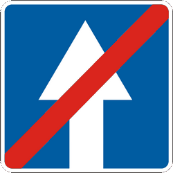 Traffic sign of Ukraine: End of the road with one-way traffic