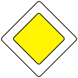 Traffic sign of Ukraine: Begin of a priority road
