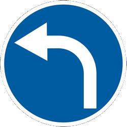 Traffic sign of Ukraine: Turning left mandatory