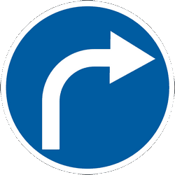 Traffic sign of Ukraine: Turning right mandatory