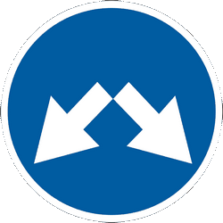 Traffic sign of Ukraine: Passing left or right mandatory
