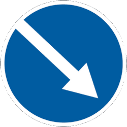 Traffic sign of Ukraine: Passing right mandatory