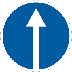 Traffic sign of Ukraine: Driving straight ahead mandatory
