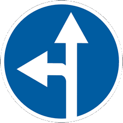Traffic sign of Ukraine: Driving straight ahead or turning left mandatory
