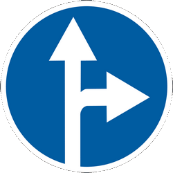 Traffic sign of Ukraine: Driving straight ahead or turning right mandatory