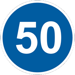 Traffic sign of Ukraine: Driving faster than indicated mandatory (minimum speed)