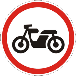 Traffic sign of Ukraine: Motorcycles prohibited