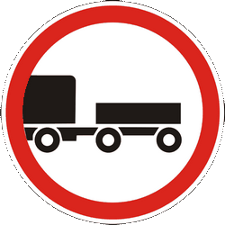Traffic sign of Ukraine: Trucks with trailer prohibited
