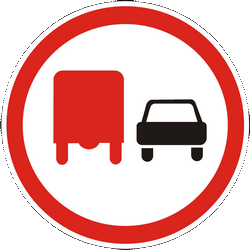 Traffic sign of Ukraine: Overtaking prohibited for trucks