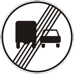 Traffic sign of Ukraine: End of the overtaking prohibition for trucks