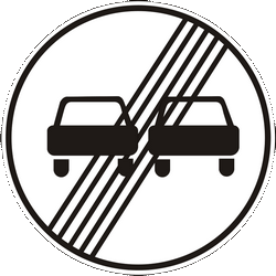 Traffic sign of Ukraine: End of the overtaking prohibition
