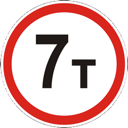 Traffic sign of Ukraine: Vehicles heavier than indicated prohibited