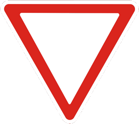 Traffic sign of Ukraine: Give way to all drivers