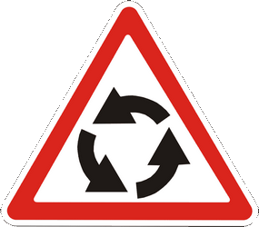 Traffic sign of Ukraine: Warning for a roundabout