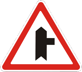 Traffic sign of Ukraine: Warning for side road on the right