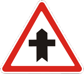 Traffic sign of Ukraine: Warning for a crossroad side roads on the left and right