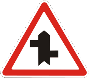Traffic sign of Ukraine: Warning for a crossroad where the roads are not opposite to each other