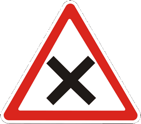 Traffic sign of Ukraine: Warning for an uncontrolled crossroad
