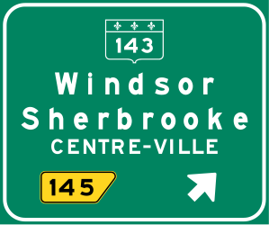 Traffic sign of Canada: Information about the next <a href='/en/canada/overview/exit'>exit</a>