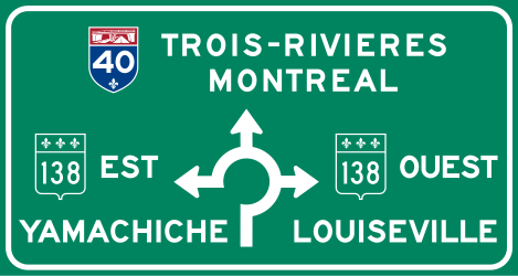 Traffic sign of Canada: Information about the <b>directions</b> of the <a href='/en/canada/overview/roundabout'>roundabout</a>