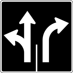 Traffic sign of Canada: Overview of the lanes and their direction