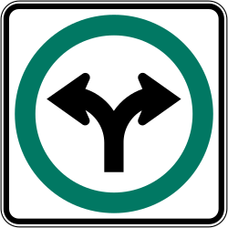 Traffic sign of Canada: Turning left or right mandatory