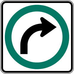 Traffic sign of Canada: Turning right mandatory