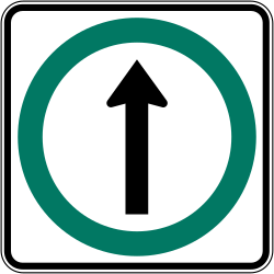 Traffic sign of Canada: Driving straight ahead mandatory