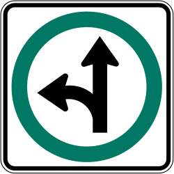 Traffic sign of Canada: Driving straight ahead or turning left mandatory