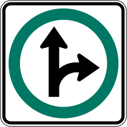 Traffic sign of Canada: Driving straight ahead or turning right mandatory