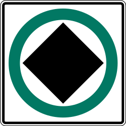 Traffic sign of Canada: Mandatory lane for vehicles with dangerous goods